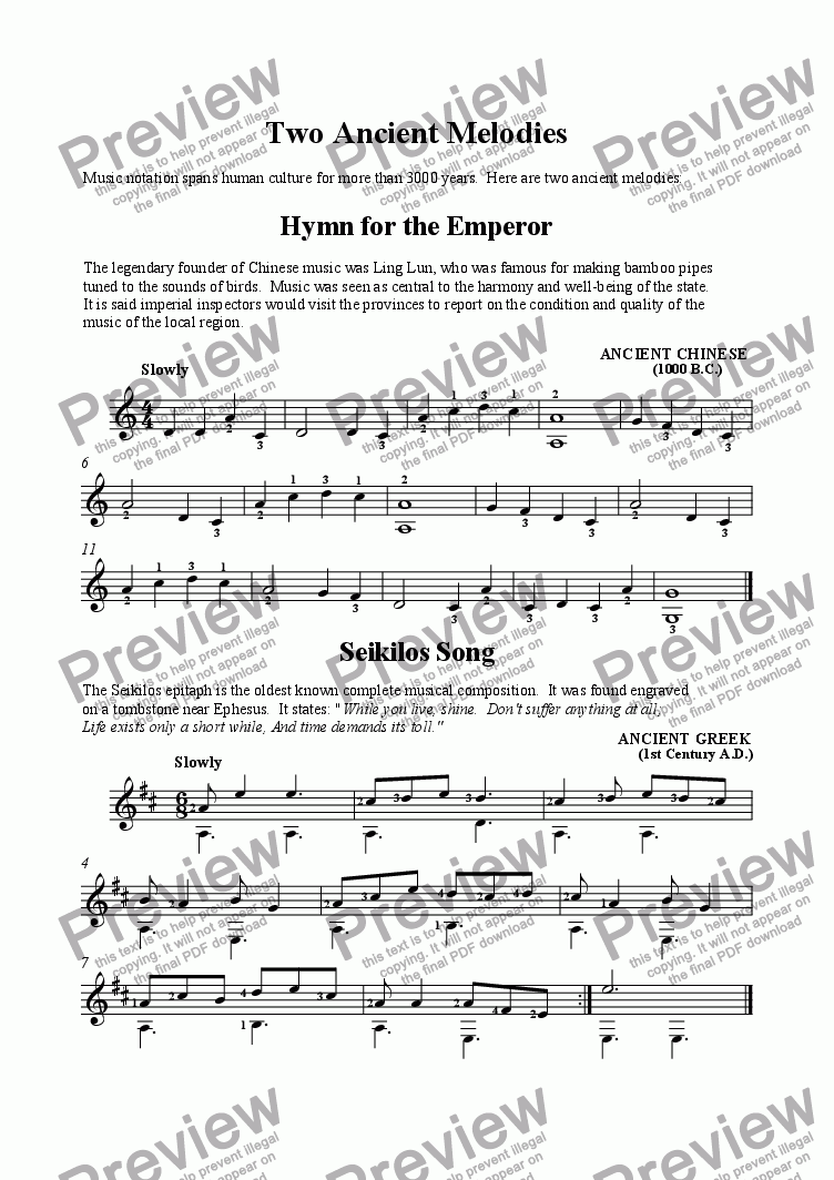 page one of Two Ancient Melodies - Hymn for the Emperor and Seikilos Song