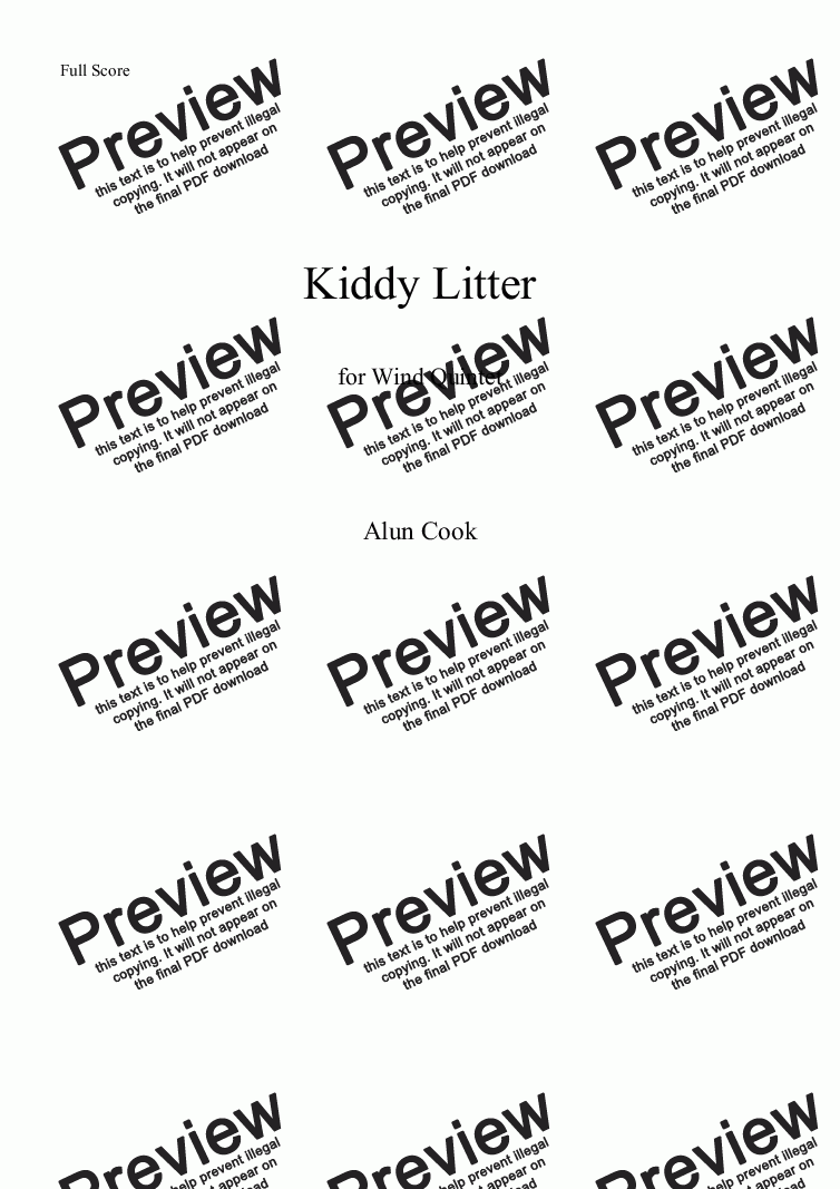 page one of Kiddy Litter (Wind Quintet Fl,Ob,Cl,Hn,Bn)