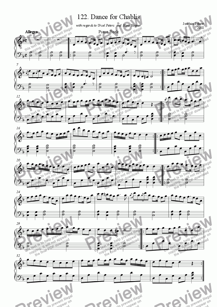 page one of Piano Book 122 (Dance for Chablis)ASALTTEXT