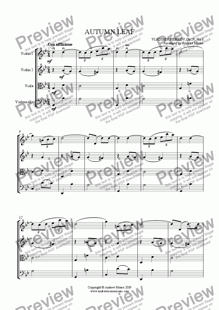 page one of 'Autumn Leaf' arranged for String QuartetASALTTEXT