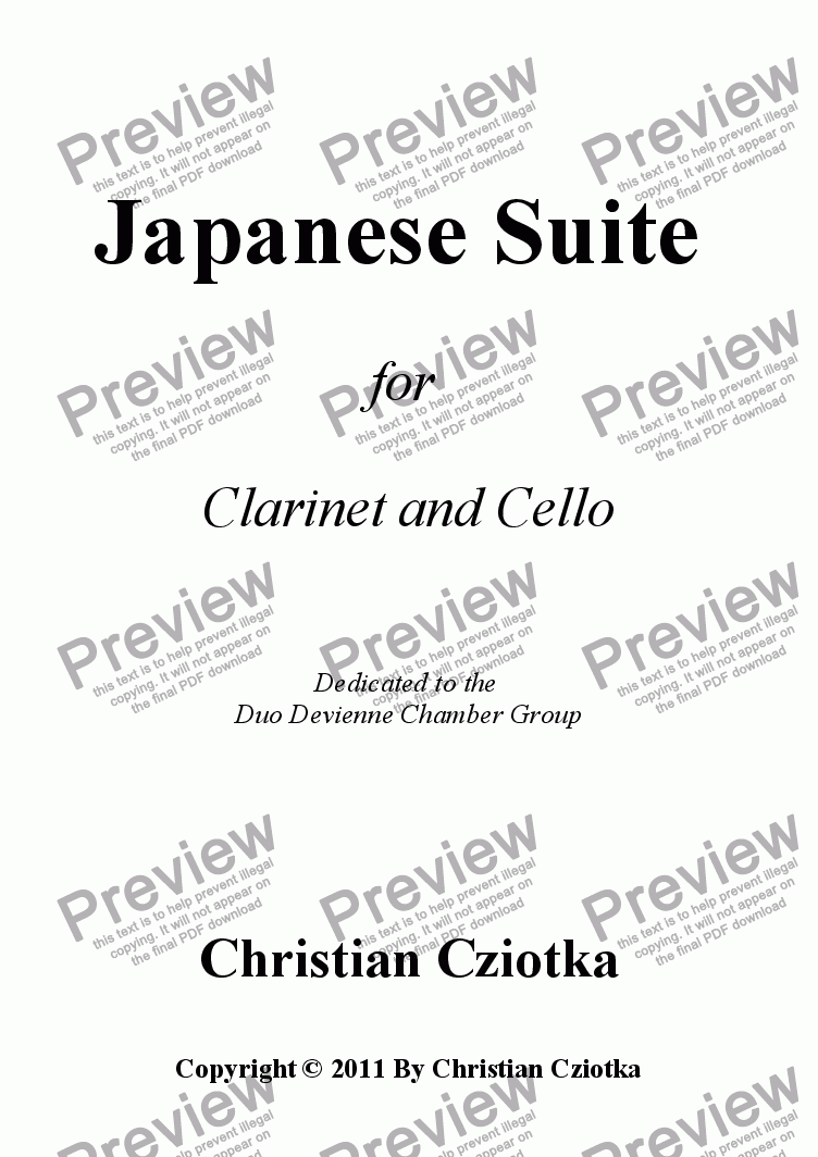 page one of Japanese Suite for Clarinet and Cello I.  Tezutsu-Hanabi