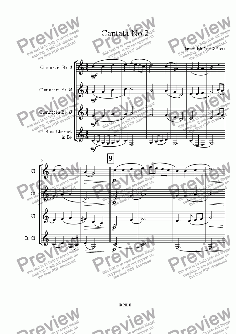 page one of Cantata No 2 (Clarinet Quartet)