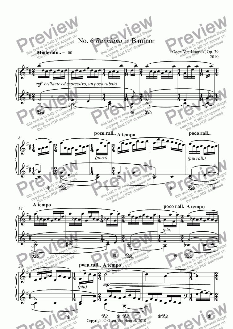 page one of 24 Preludes for piano - Prelude No. 6 Bachiana in B minor