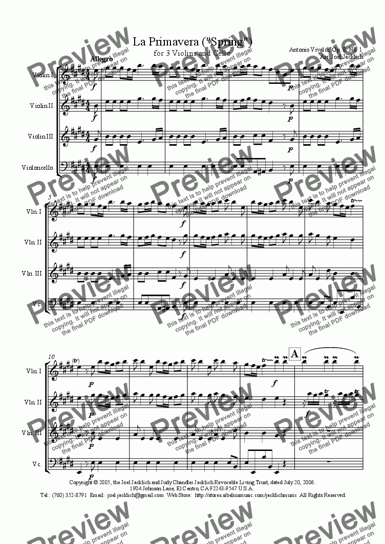 "page one of La Primavera (""Spring"") for 3 violins and cello, Mvt I"