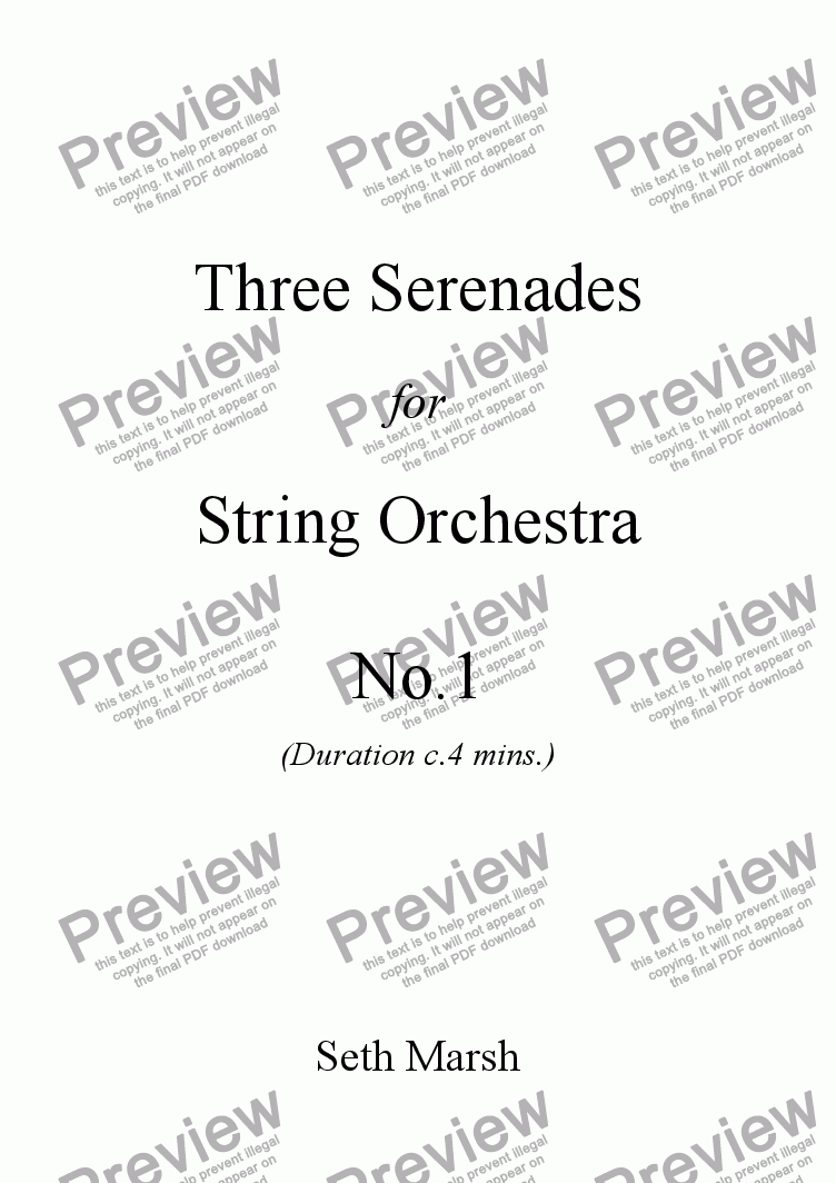 page one of Three Serenades for String Orchestra - No.1