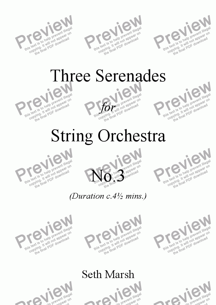 page one of Three Serenades for String Orchestra - No.3