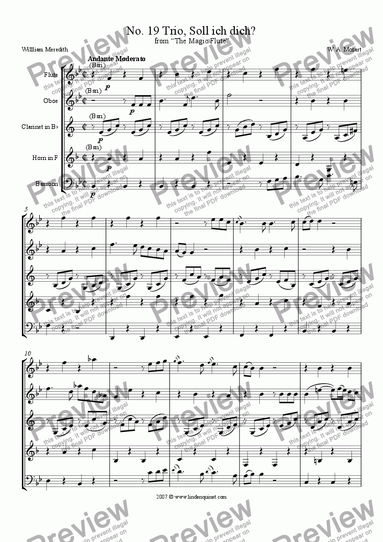 page one of Mozart - Magic Flute No. 19 Soll ich dich?