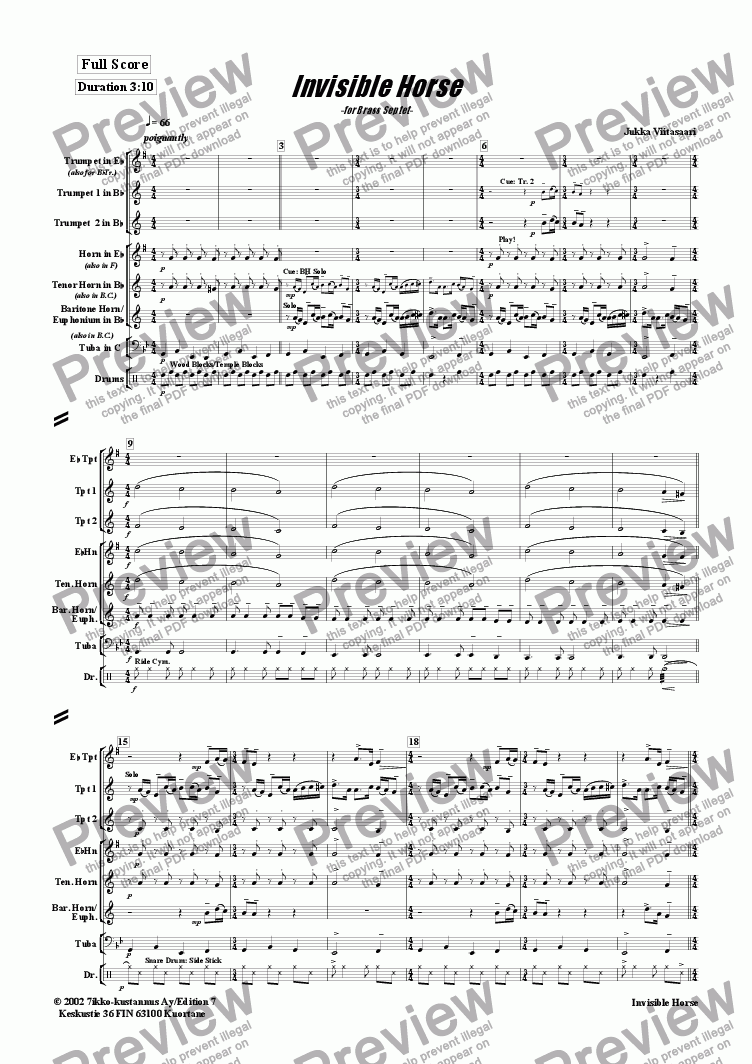 page one of Invisible Horse (brass septet)