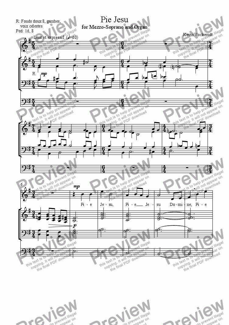 page one of Pie Jesu