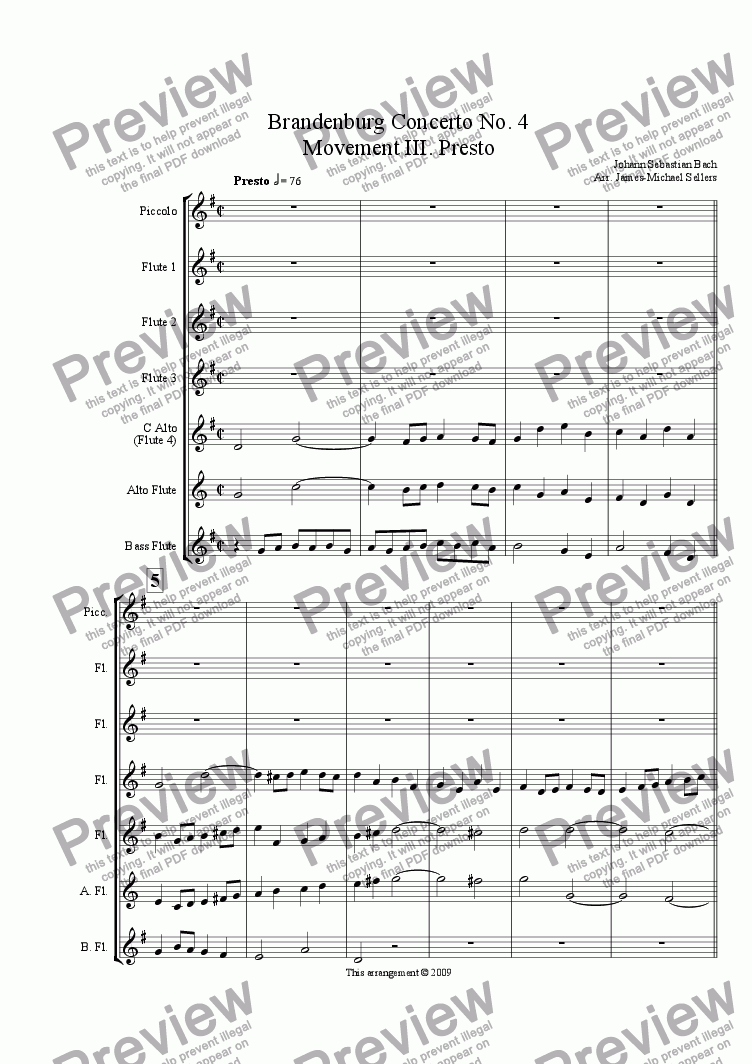 page one of Brandenburg Concerto No. 4, Presto (Flute Choir)