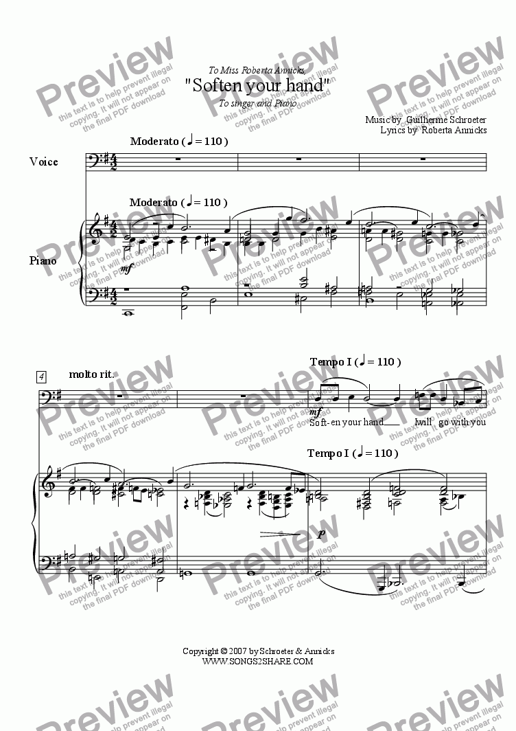 page one of Pop song - Soften your hand