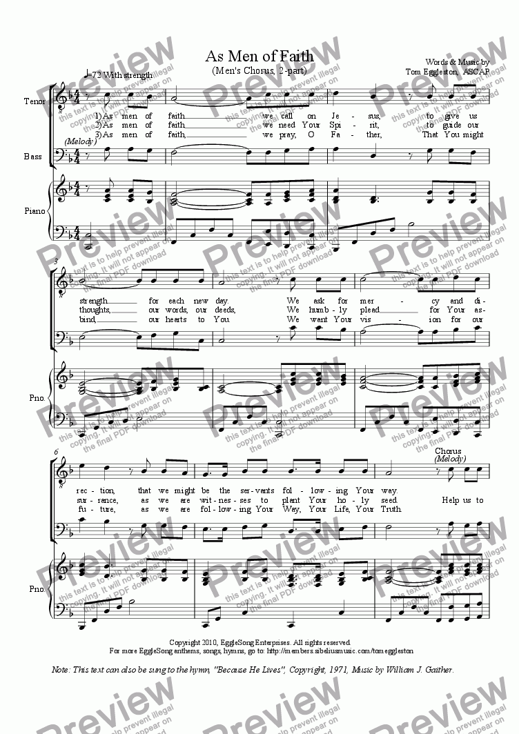 page one of As Men of Faith, Hymn, Men, 2-part