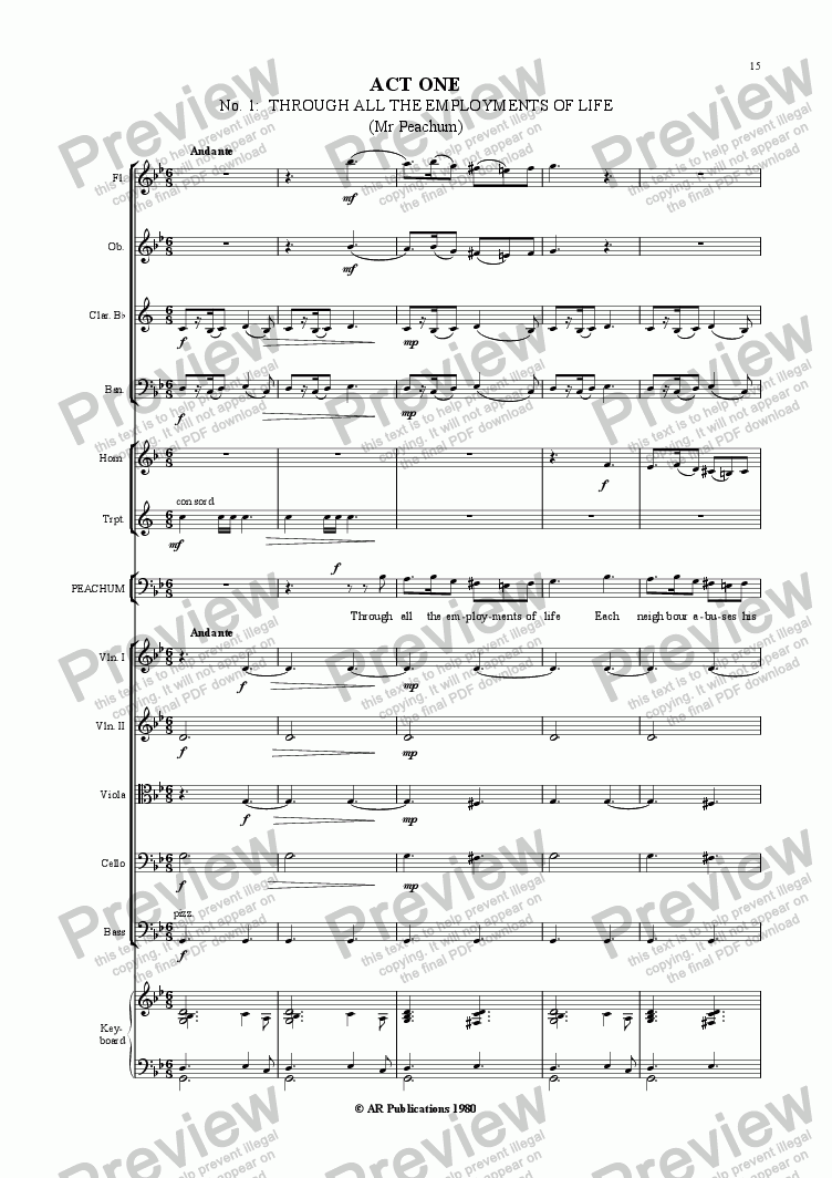 page one of Beggar's Opera - No. 01 & 02