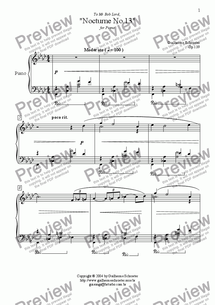 page one of Op.139 - Nocturne no.13 (F minor)