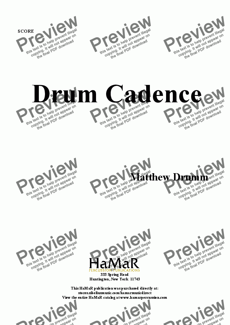 page one of Drum Cadence