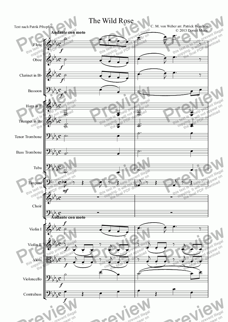 page one of The Wild Rose (SATB and Orchestra) - Carl Maria von Weber