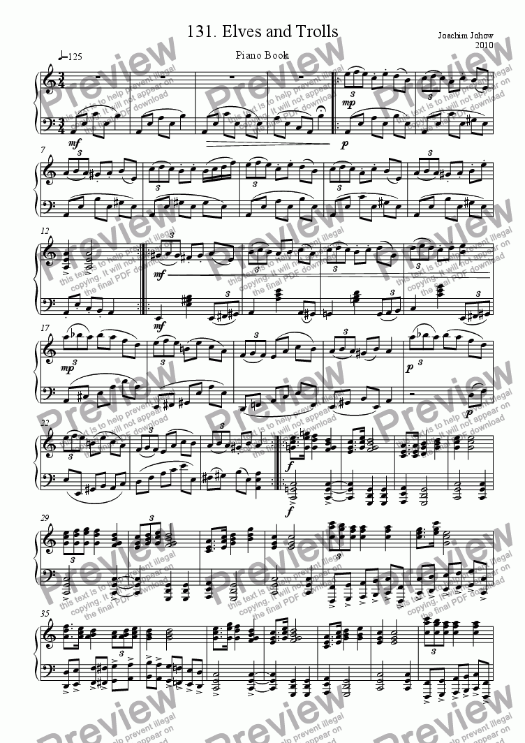 Piano Book 131 (Elves and Trolls) for Solo instrument (Piano) by Joachim  Johow - Sheet Music PDF file to download