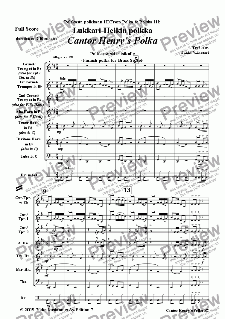 page one of Cantor Henry´s Polka (Brass Septet)