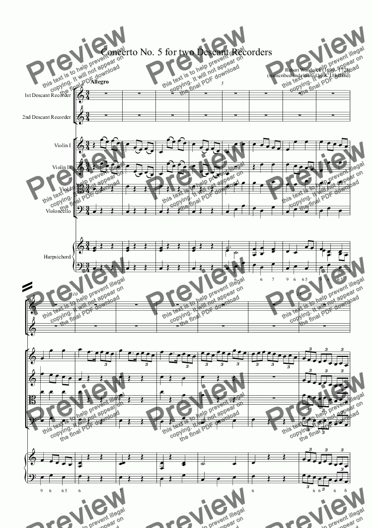 page one of Concerto no. 5 for two descant recorders