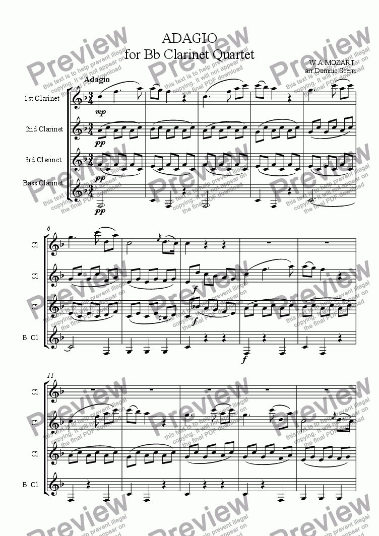 Adagio Clarinet Concerto For Quartet Of By Wa Mozart Sheet Music Pdf File To Download