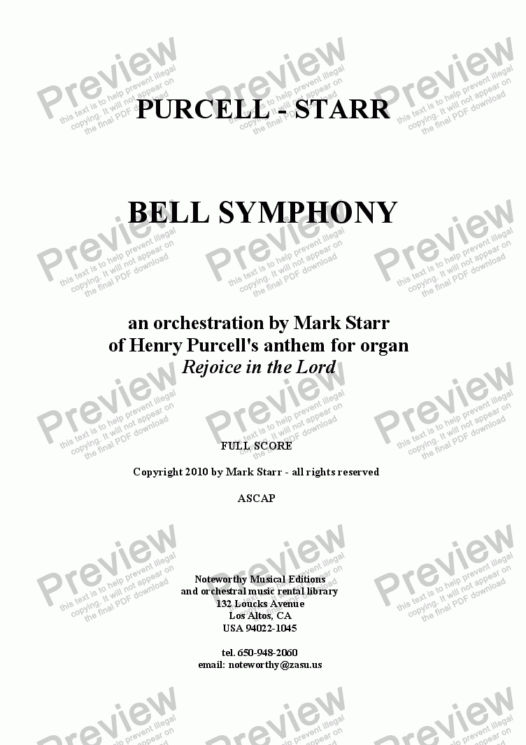 page one of PURCELL - STARR; 'Bell Symphony' (anthem by Henry Purcell arranged for orchestra by Mark Starr)