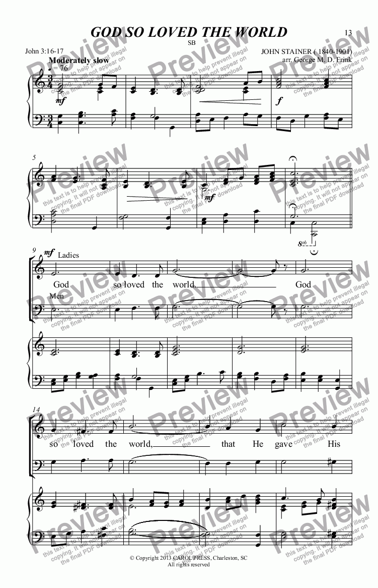 God So Loved The World Stainer Sb Download Sheet Music Pdf File