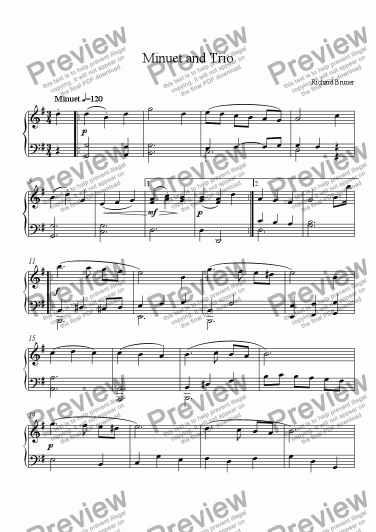 page one of Minuet and Trio