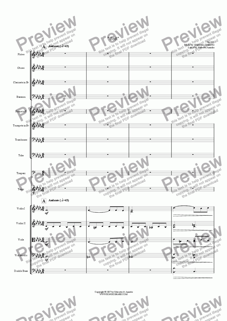 page one of Op.222 - Soft - A Lieder for Voice and Orchestra  (Bb minor)
