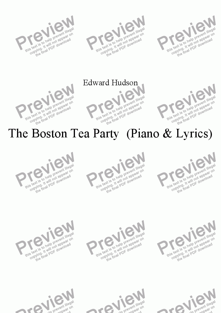 page one of The Boston Tea Party (lyrics and accompaniment)