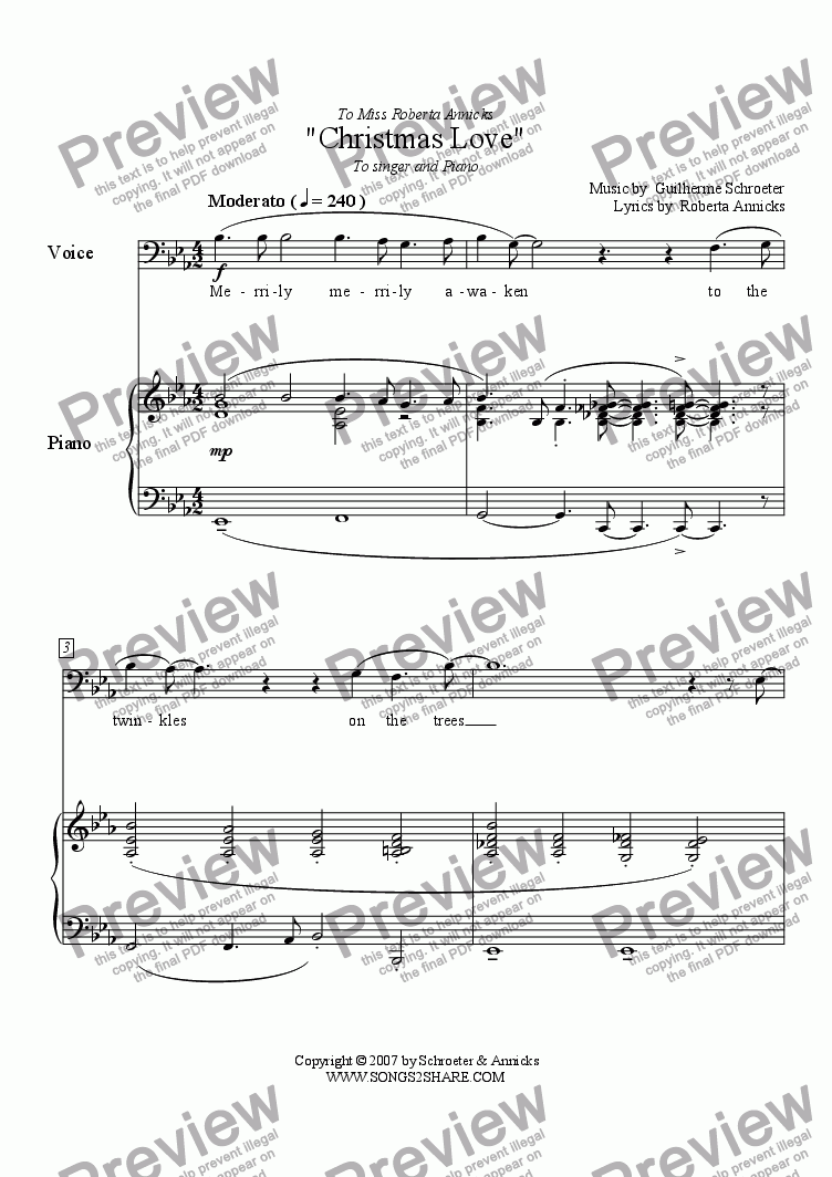 page one of Pop song - Christmas LoveASALTTEXT
