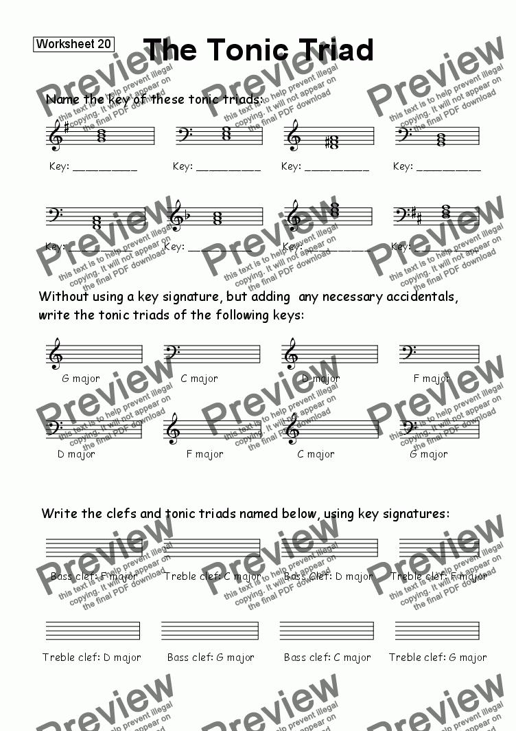 page one of Worksheet 20: Tonic TriadsASALTTEXT