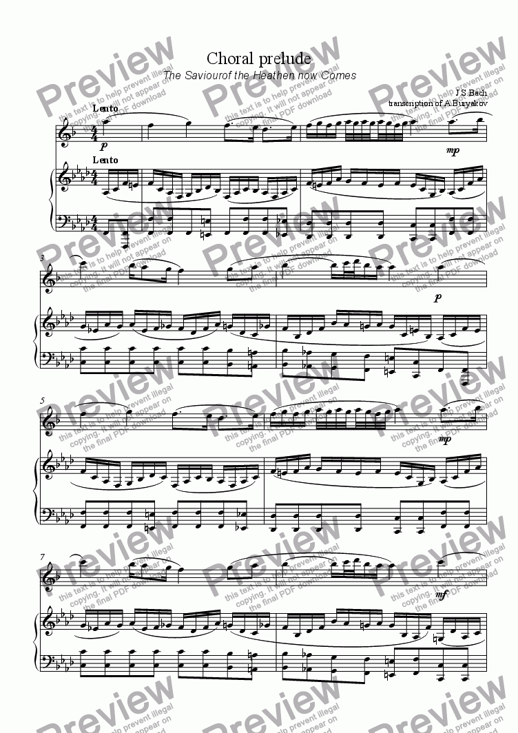 "page one of Choral prilude ""The Saviourof the Heathen now Comes"""
