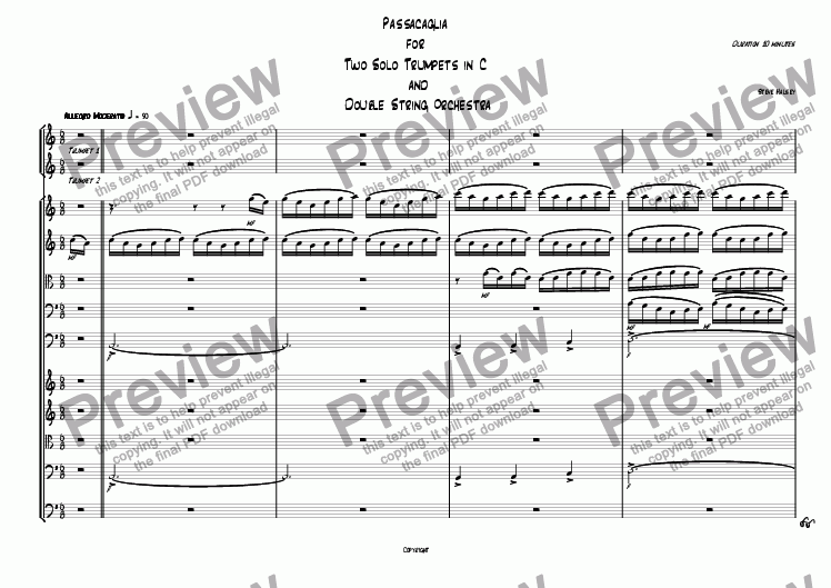 page one of Passacaglia for 2 Solo Trumpets and Double String Orchestra