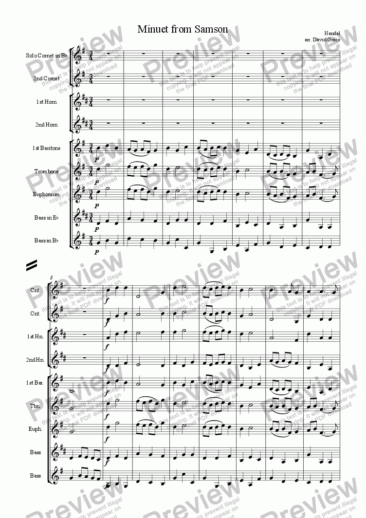 page one of Minuet from 'Samson'