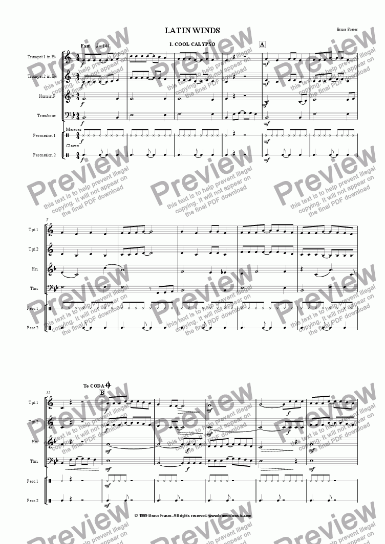 page one of BRASS LATIN WINDS