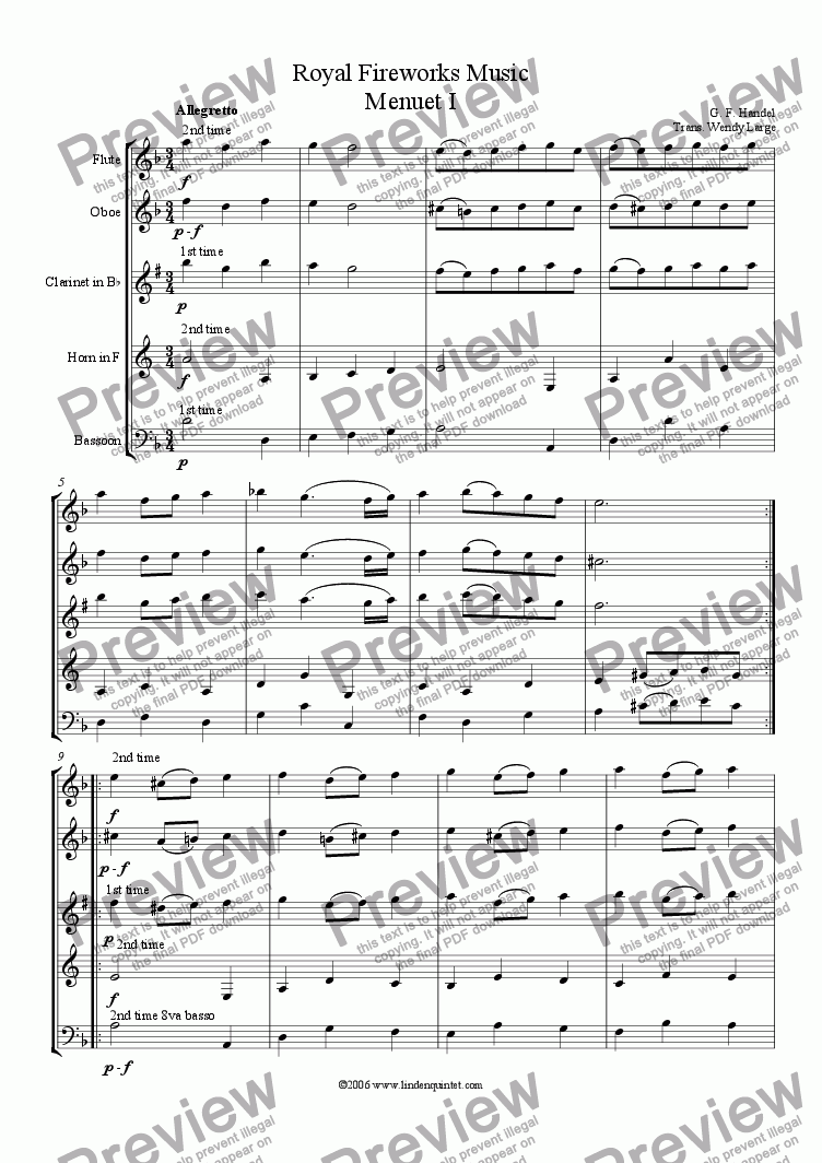 page one of Handel - Royal Fireworks Music Menuets I & II