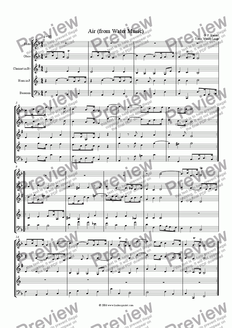 page one of Handel - Water Music Air