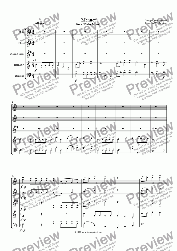 Handel - Water Music Menuet - Download Sheet Music PDF file