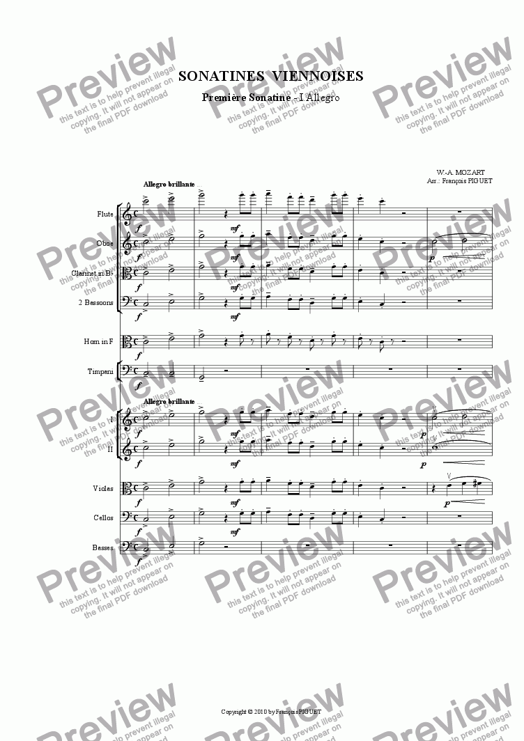page one of MOZART: Viennese Sonatina Nr 1/I  arranged for chamber orchestra