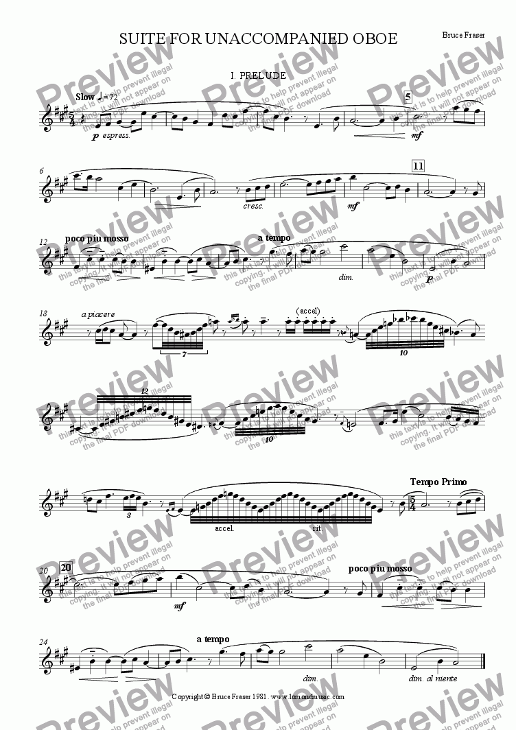 page one of SUITE FOR UNACCOMPANIED OBOE