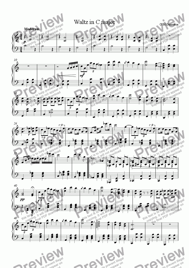 page one of Waltz in C major