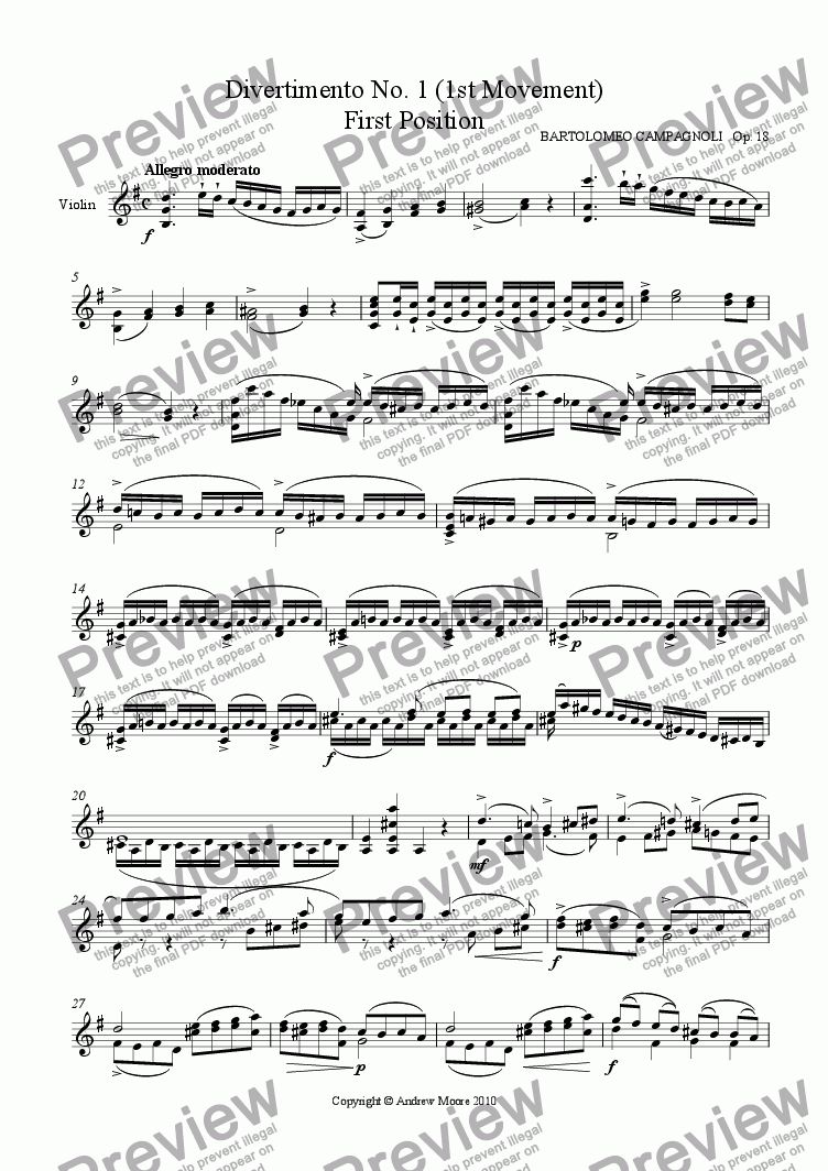 page one of Divertimento No. 1 - 1st Movement - Allegro Moderato Op. 18
