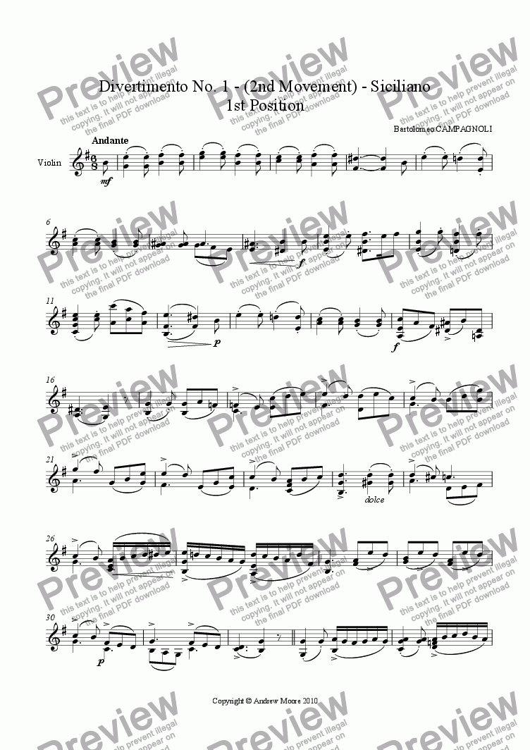 page one of Divertimento No. 1 - 2nd movement - Siciliano - Op. 18