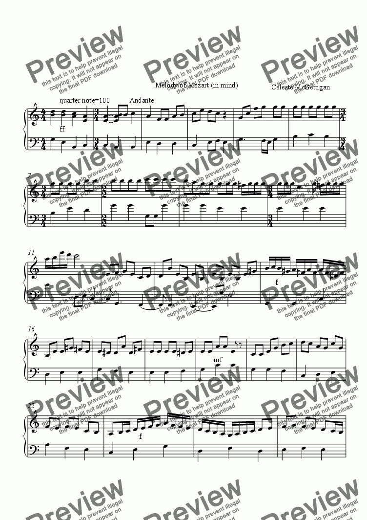 page one of Melody of Mozart #1