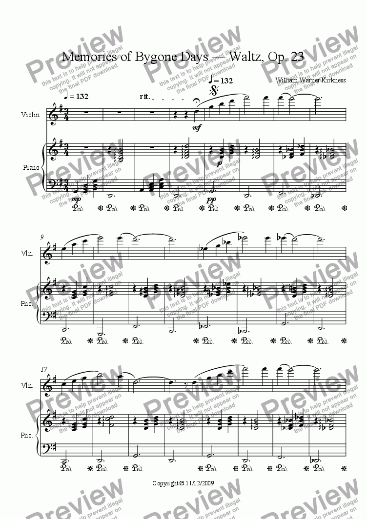 page one of Memories of Bygone Days — Waltz, Op. 23