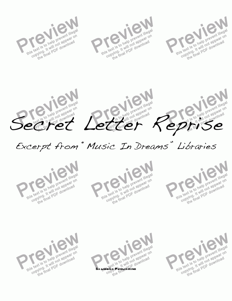 page one of Secret Letter Reprise