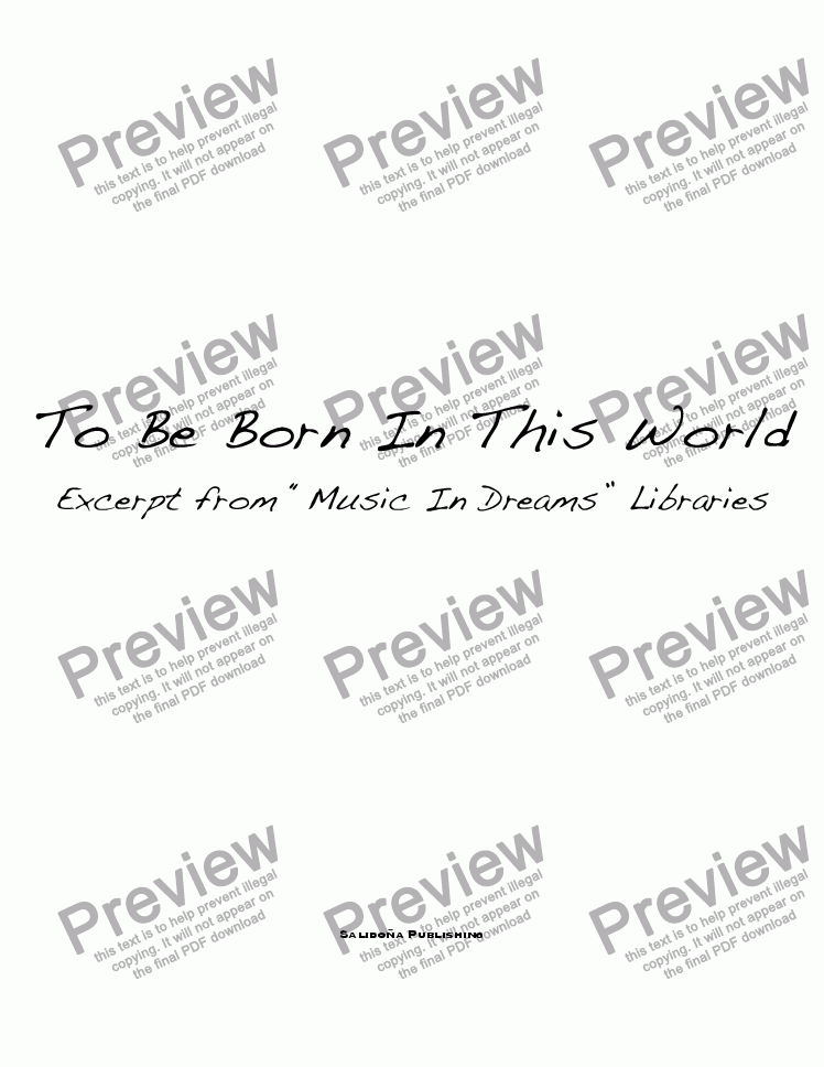 page one of To Be Born In This WorldASALTTEXT