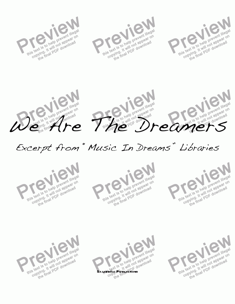 page one of We Are The Dreamers