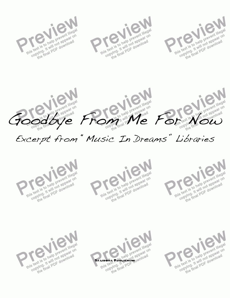 page one of Goodbye From Me For Now