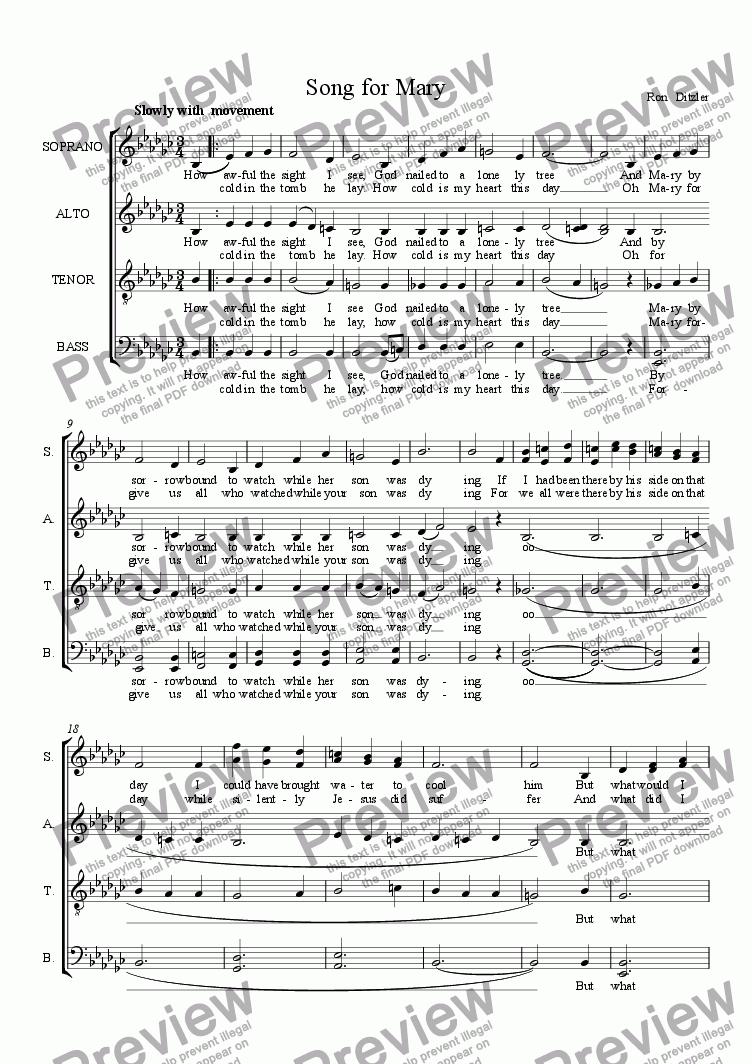 page one of Song for Mary
